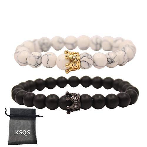 UEUC Armband mit CZ Kronen König und Königin schwarz Matte und weiß Howlite 8 mm Beads ()