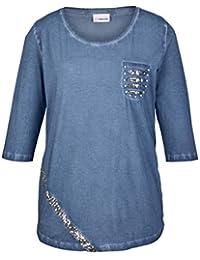 Stern Shirt rot Pailletten-Stern Sheego Kurzarm Gr 44//46