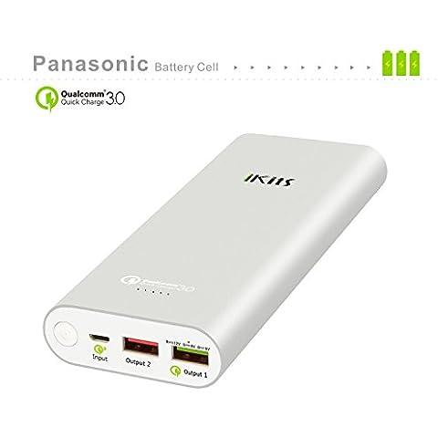 iKits [Qualcomm Certificado] Celular Panasonic batería de carga rápida de la batería 3.0 del paquete de energía externa 19200mAh Banco de entrada: QC3.0, Salida: 2.4A + QC para Samsung Google Nexus iPhone / iPad y más plata