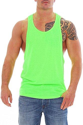 Work Hard Muscle Shirt Herren Tank Top Neon Grün mit Großem Armausschnitt, Größe:M (Shirt Muskel-fit)