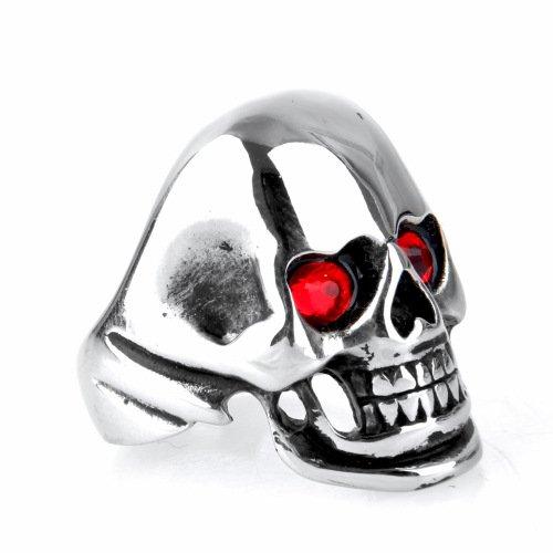LOPEZ KENT Persönlichkeit Punk Titanium Stahl Intarsien Rote Augen Skelett Ringe Größe 67(21.3) - Skelett Dvd-rote