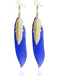 LUFA Boucles d'oreilles en plumes avec pendentifs en plumes en or pour petites femmes
