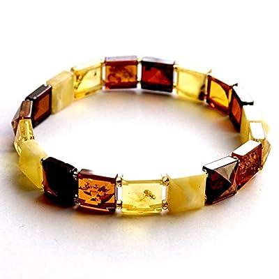 Bracelet extensible multicolore ambre de la Baltique pour femme