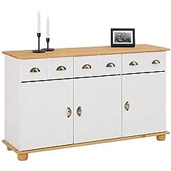 IDIMEX Buffet Colmar Commode bahut vaisselier Rangement avec 3 tiroirs et 3 Portes battantes en pin Massif lasuré Blanc et Brun