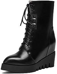 Damen Artifizielles Büffelleder Niedrig-Spitze Schnüren Stiefel mit Metall Schnalle, Weinrot, 38 AgooLar