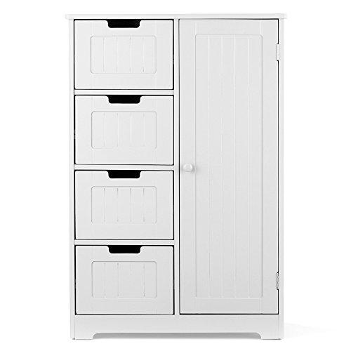 Ikayaa modern shelved floor cabinet con porta e cassetti bedroom storage sottolavabo in legno bianco,56 x 30 x 81 cm