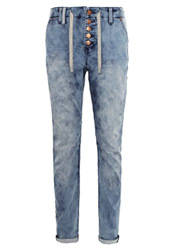 Eight2Nine Damen Sweat Jeans im Boyfriend Style   Jogg-Jeans mit Kordel Light-Blue L