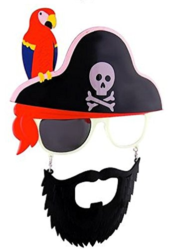 sunstaches Kreuz Totenkopf Papagei Pirat Bart Sonnenbrille (Kostüm Parrot)