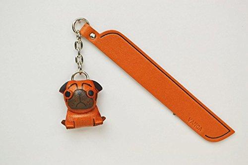 MOPS Leder Hund Charm Lesezeichen Vanca handgefertigt in Japan... -
