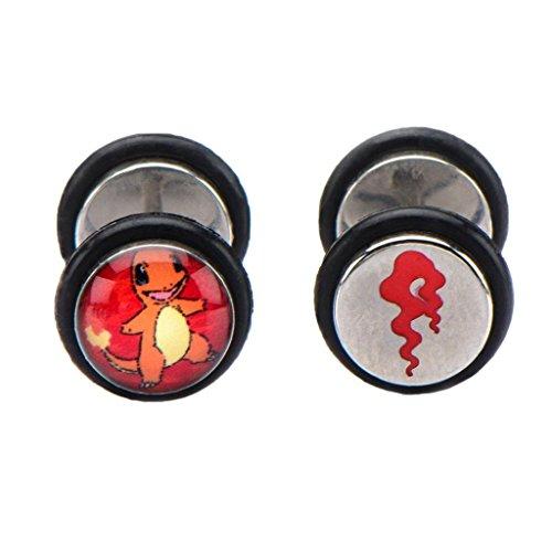 Offiziellen Pokemon Glumanda Fake Plug Gestüt Ohrringe Zeichensatz - Pokemon gehen (Game Boy Pokemon Feuer Rot)