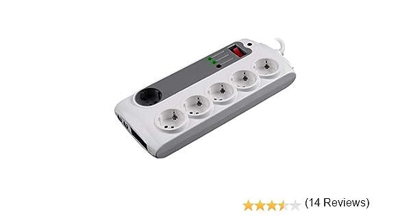 11 Prese Brennenstuhl Ciabatta elettrica Premium Protect-Line Funzione Master Slave e Funzione di Ricarica USB con Protezione da sovratensione 2 interruttori e Cavo da 3 m Colore: Nero