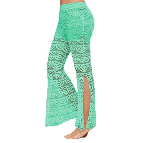 ZhiYuanAN Donna Sexy Pantaloni Pizzo Moda Split Pants Di Merletto Pantaloni Palazzo Larghi Casual Flared Danza Pantaloni Verde