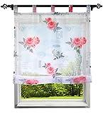 BAILEY JO Schön Raffrollo mit Frisch Blumen Druck Rollos Voile Transparent Vorhang (BxH 100x140cm, Pink mit Schlaufen)