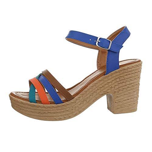 Ital-Design Damenschuhe Sandalen & Sandaletten High Heel Sandaletten Synthetik Blau Multi Gr. 38 -