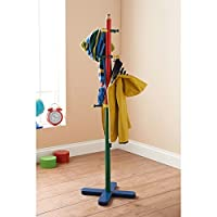 eShop4U Kids Nursery Playroom Toy Coat Stand Pencil Crayon Style Multicolour Green Orange Yellow Navy Solid Wood Decoration Gift