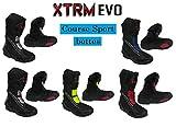 XTRM Bottes de Moto Evo Sports Bottes pour Adultes Nouveau 2019 Hommes et Femmes Scooter Quad Biker Rider sur Route Courses Tourisme Armure Protection Bottes Longues en Cuir (Gris Noir,EU 43/ UK 9)