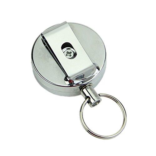 Iycorish Iycorish (R) Dehnbares Metall Karte Abzeichen Halter Stahl Ring Pull-Gurt Klipp Schluesselanhaenger Silber