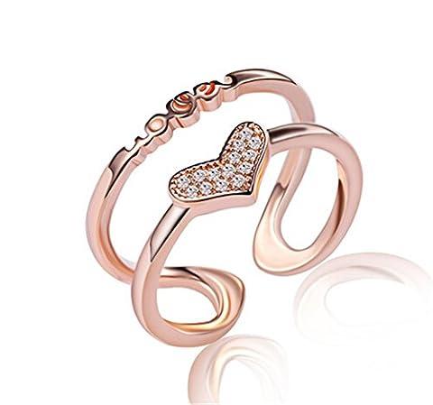 Ringe Damen Verstellbare Rose Gold Love mit Herz für Partnerringe Freundschaftsringe Eheringe Dopple-Ring