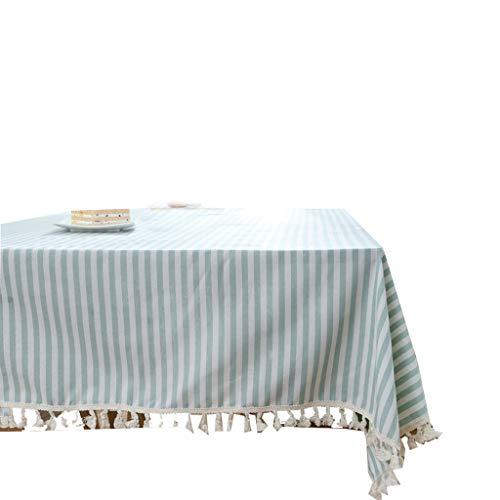 Zhangy tovaglie per tavoli rettangolari cotone e lino stile pastorale rurale a strisce teiera da tavolo,c_140x140cm(55x55inch)