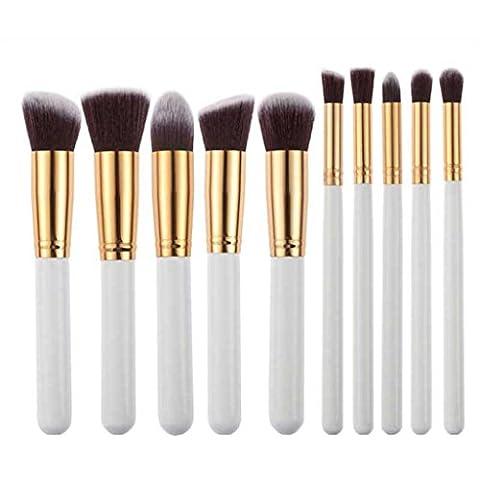 OverDose Makeup 10pcs Kabuki Style Professional Make up Brush Set Foundation Blusher Face Powder (10 PCS, Black + White)