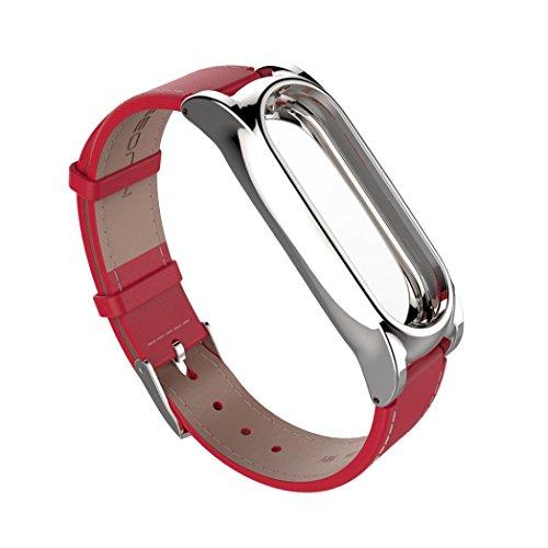 CICIYONER Armband für Xiaomi Mi Band 2, Mode Einfache Elegante gemütliche PU-Leder Smart Armbanduhr Armband (Rot 2, Xiaomi Miband 2)