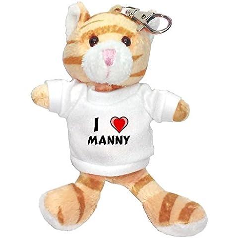 Gato marrón de peluche (llavero) con Amo Manny en la camiseta (nombre de pila/apellido/apodo)