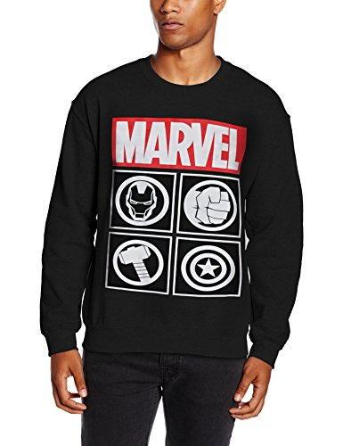 Marvel Herren Sweatshirt Avengers Icon, Schwarz, Large (Icon Sweatshirt Crew)