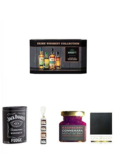 Cooley Collection neues Design Irish Whisky Mini 4 x 5cl + Jack Daniels Malt Whisky Fudge in Blechdose 300g + Lantenhammer Geistige Fruchtaufstriche 4er Geschenkset 4 x 50 Gramm + Connemara Irish Whisky Himbeer Marmelade 150g im Glas + Schiefer Glasunter
