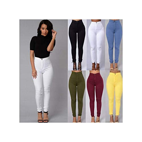 RBHSG S-XXXLWomen Denim Skinny Jeggings Pants High Waist Stretch Jeans Slim Pencil Trousers Wash Skinny Jeans Woman High Waist Winter Yellow XXXL
