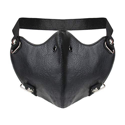 (Unisex PU Leder Punk Maske Sport Schutzmaske Retro Gothic Rock Maske Hip Hop Motorrad Maske Party Cosplay Requisiten,Black)