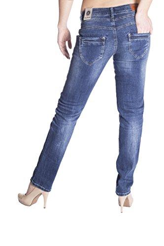 Blue Monkey Damen Skinny Jeans mit hohem Bund Kathrin 5160 Blau