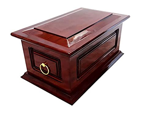 Solid Wood Funeral Cremation Ashes Urn For Adult With Metal