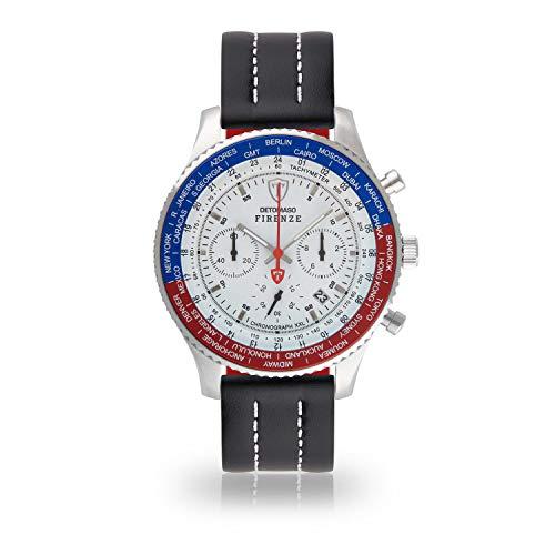 DETOMASO Firenze XXL Herren-Armbanduhr Chronograph Analog Quarz silbernes Edelstahlgehäuse weißes Zifferblatt (Leder - Schwarz (Naht: Weiß))