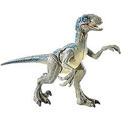 Jurassic World FNB33 - Figura de acción Velociraptor de daños en la batalla, color azul