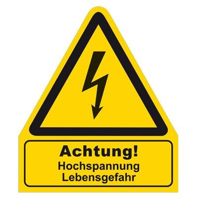 Warnzeichen - Warnschild - Achtung ! Hochspannung Lebensgefahr - Folie selbstklebend
