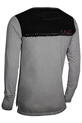 trueprodigy Casual Herren Marken Long Sleeve mit Aufdruck, Oberteil cool und stylisch mit Rundhals (Langarm & Slim Fit), Langarmshirt für Männer bedruckt Farbe: Dunkelgrau 2572108-5203 Dark Grey