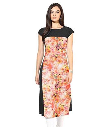 Velentino Trend Women Multicolor Floral Printed Crepe Kurtis VAT111 Medium