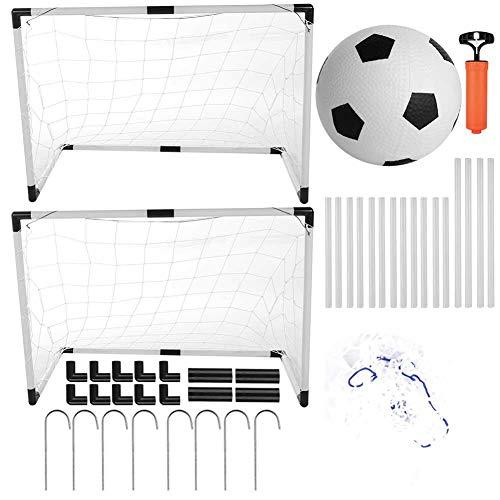 ltor Set, Mini Faltbar Fußball Set Minitore Spielzeug mit Netz, Ball und Ballpumpe, Kinder Fußball-Tor Training Spielzeug für Garten Strand Spielplatz Hinterhof Camping ()