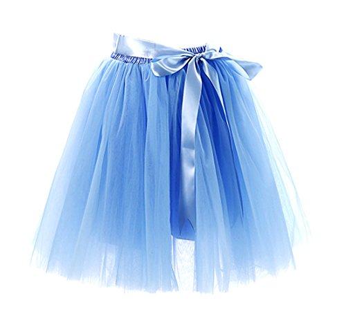 Honeystore Damen's Rock Tutu Tütü Petticoat Tüllrock 7 Schichten mit Gummizug für Karneval, Party und Hochzeit Himmelblau One (Bane Kostüme Weste)