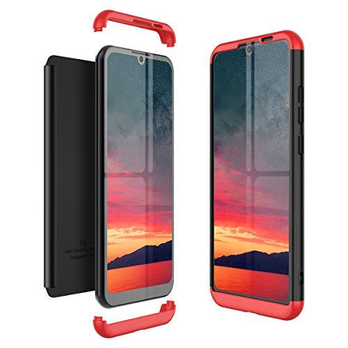 Winhoo Kompatibel mit Huawei Honor Play 8A Hülle Hardcase 3 in 1 Handyhülle 360 Grad Schutz Ultra Dünn Slim Hard Full Body Case Cover Backcover Schutzhülle Bumper - Schwarz + Rot