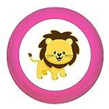 Schrankgriff'Löwe' pink Holz Buche Kinder Kinderzimmer 1 Stück wilde Tiere Zootiere Dschungeltiere Traum Kind