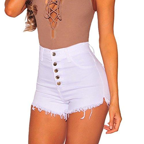 Pantalones Cortos para Mujeres Color Sólido Shorts de Mezclilla Moda Cintura  Alta Shorts Casual Denim Shorts 6de930c883f