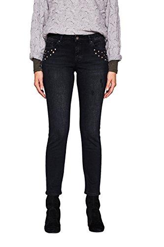 Skinny Nieten Jeans (edc by ESPRIT Damen Skinny Jeans 117CC1B036 Schwarz (Black Dark Wash 911), W33/L32)