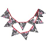 OMMO LEBEINDR Union Jack Britannique Bunting Triangle Rétro Royaume-uni Drapeau Suspendu Bannière Noire 1set Triangle Drapeau Garland Royaume-uni