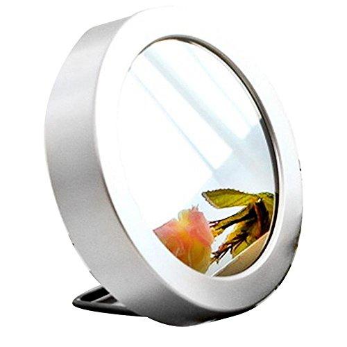 KHSKX Ruhig, Multi-Funktions Spiegel Uhr, sprachgesteuerte Runde leuchtende, elektronische Schule Mädchen Mini Wecker , silver