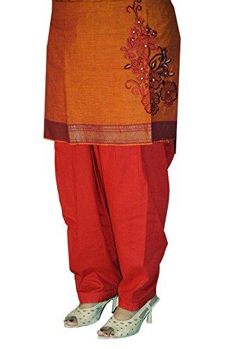 IndiaVillage Women's Semi Patiala Salwar (WASAL002_Red_Small)