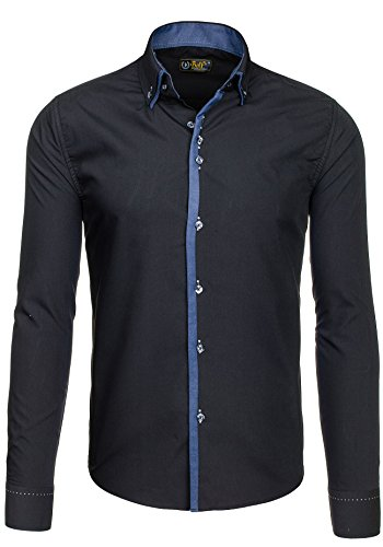 BOLF Herrenhemd Freizeithemd Langarm Slim Fit Figurbetont NEW 3727 Schwarz