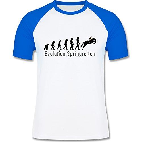 Evolution - Springreiten Evolution - zweifarbiges Baseballshirt für Männer Weiß/Royalblau