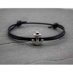 Damen Herren Unisex Armband Surfer Partnerarmband Schwarz Leder Lederarmband Pärchen Partner Armbänder Anker…