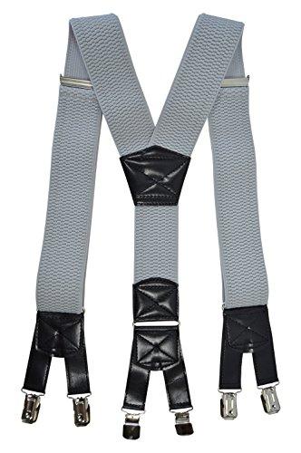 Bretelles XXL entièrement réglable Extra Fort avec 6 Clips, Tissu épais - 5cm Gris Clair